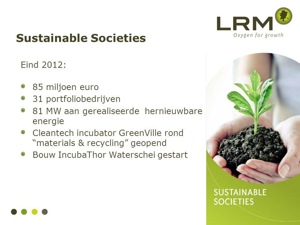 """Eind 2012: 85 miljoen euro 31 portfoliobedrijven 81 MW aan gerealiseerde hernieuwbare energie Cleantech incubator GreenVille rond """"materials & recycli"""