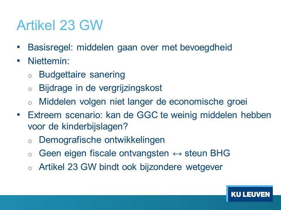 Artikel 23 GW Basisregel: middelen gaan over met bevoegdheid Niettemin: o Budgettaire sanering o Bijdrage in de vergrijzingskost o Middelen volgen niet langer de economische groei Extreem scenario: kan de GGC te weinig middelen hebben voor de kinderbijslagen.