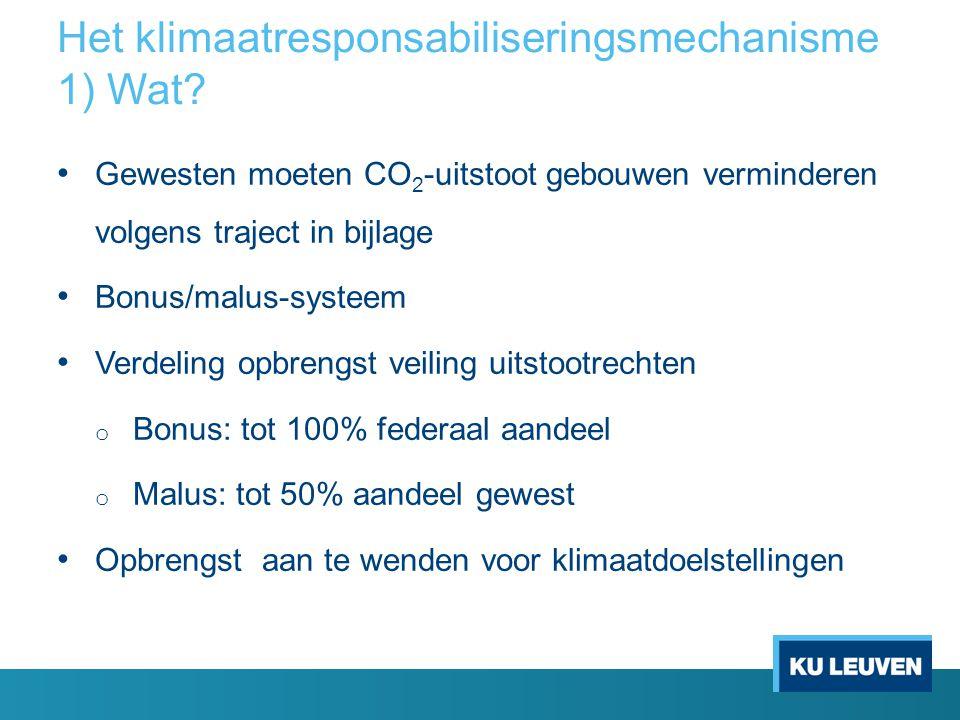 Het klimaatresponsabiliseringsmechanisme 1) Wat? Gewesten moeten CO 2 -uitstoot gebouwen verminderen volgens traject in bijlage Bonus/malus-systeem Ve