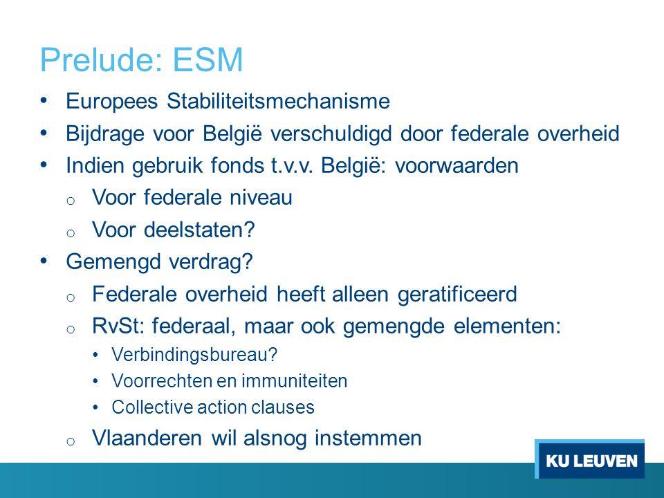Prelude: ESM Europees Stabiliteitsmechanisme Bijdrage voor België verschuldigd door federale overheid Indien gebruik fonds t.v.v. België: voorwaarden