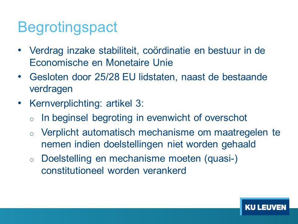 Begrotingspact Verdrag inzake stabiliteit, coördinatie en bestuur in de Economische en Monetaire Unie Gesloten door 25/28 EU lidstaten, naast de bestaande verdragen Kernverplichting: artikel 3: o In beginsel begroting in evenwicht of overschot o Verplicht automatisch mechanisme om maatregelen te nemen indien doelstellingen niet worden gehaald o Doelstelling en mechanisme moeten (quasi-) constitutioneel worden verankerd