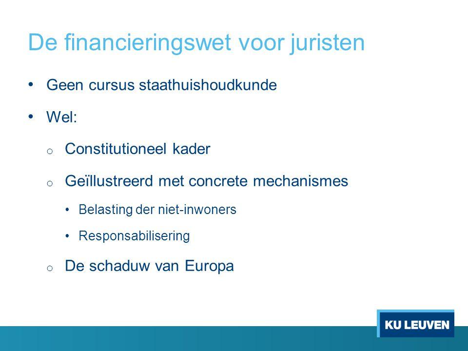 De financieringswet voor juristen Geen cursus staathuishoudkunde Wel: o Constitutioneel kader o Geïllustreerd met concrete mechanismes Belasting der niet-inwoners Responsabilisering o De schaduw van Europa