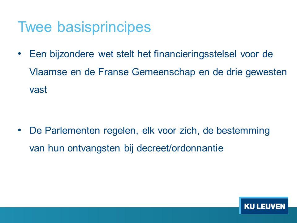 Twee basisprincipes Een bijzondere wet stelt het financieringsstelsel voor de Vlaamse en de Franse Gemeenschap en de drie gewesten vast De Parlementen regelen, elk voor zich, de bestemming van hun ontvangsten bij decreet/ordonnantie