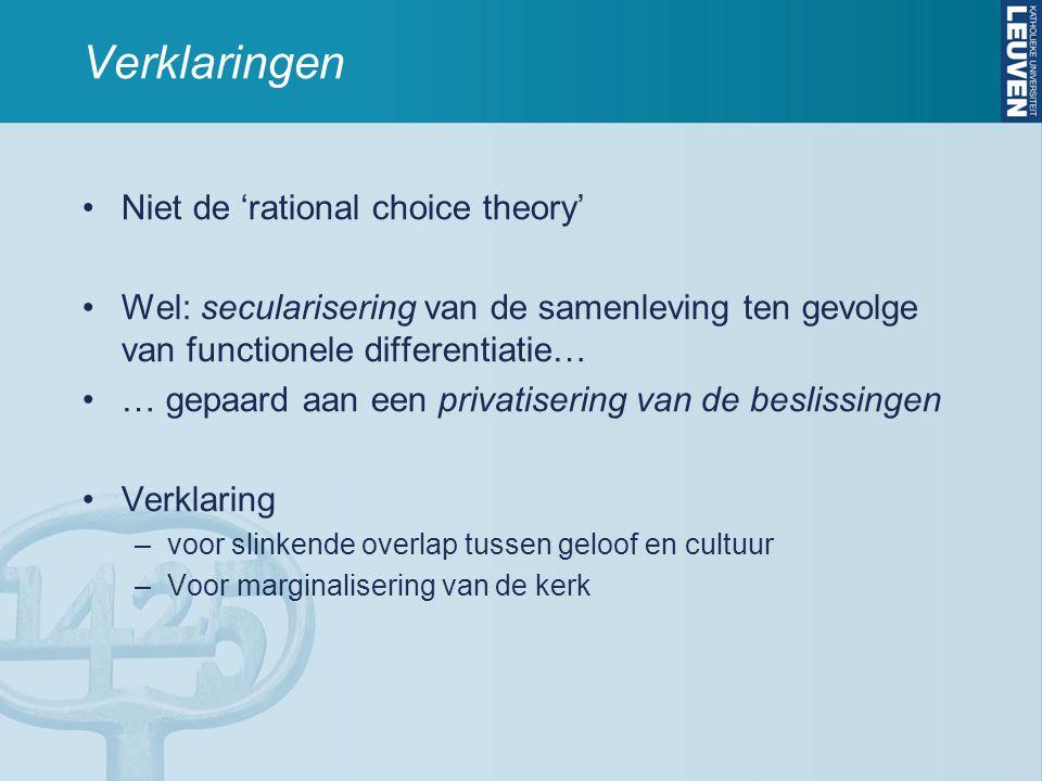 Verklaringen Niet de 'rational choice theory' Wel: secularisering van de samenleving ten gevolge van functionele differentiatie… … gepaard aan een pri
