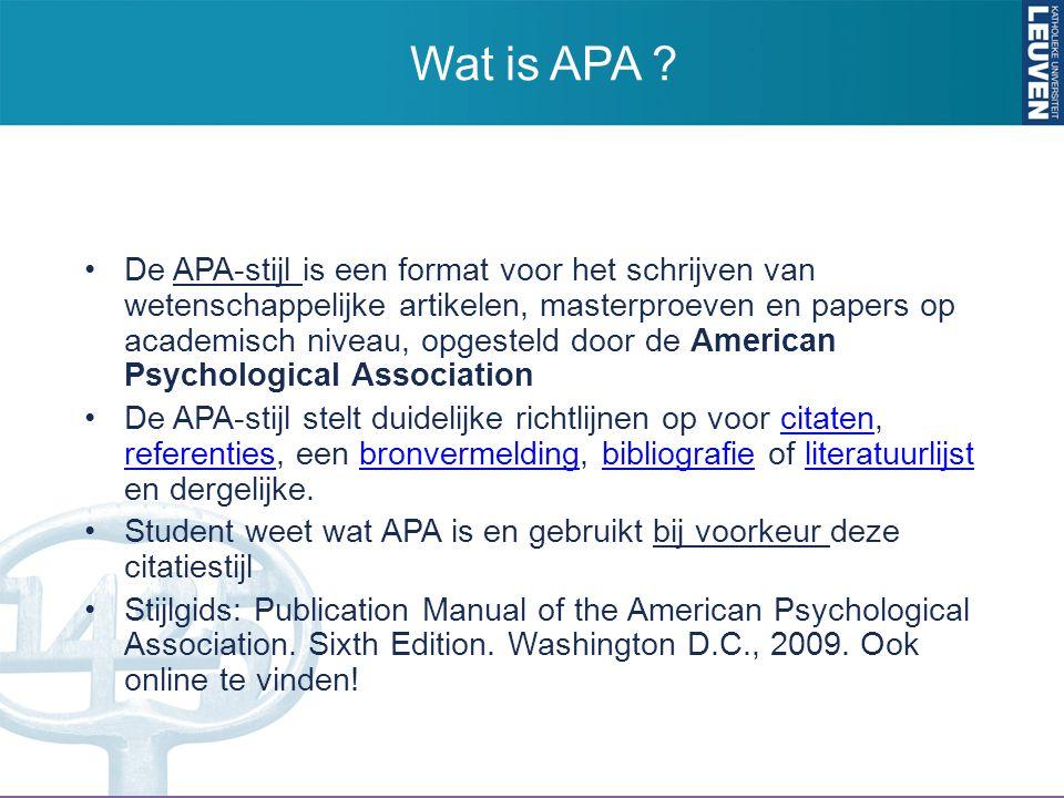 De APA-stijl is een format voor het schrijven van wetenschappelijke artikelen, masterproeven en papers op academisch niveau, opgesteld door de America