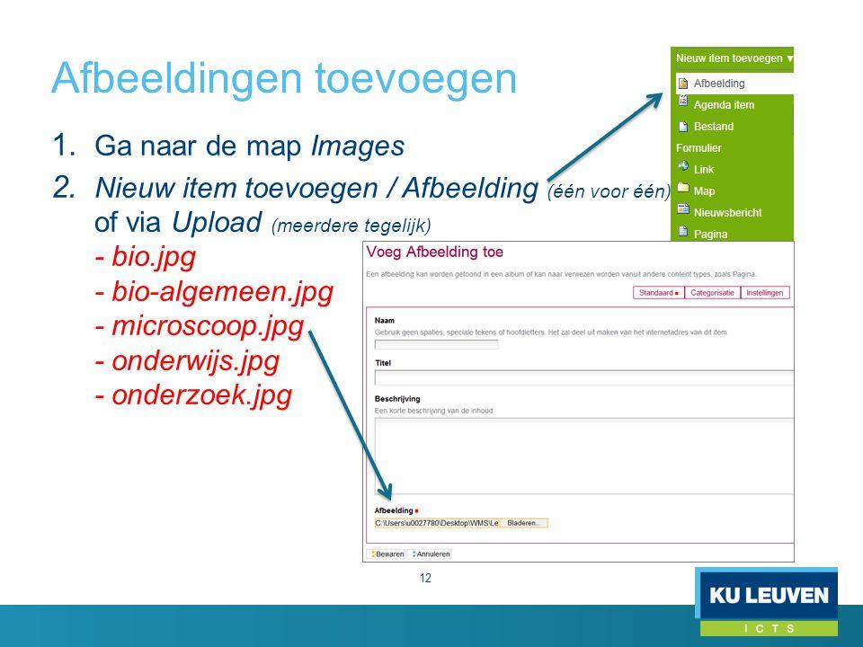 Afbeeldingen toevoegen 12 1. Ga naar de map Images 2. Nieuw item toevoegen / Afbeelding (één voor één) of via Upload (meerdere tegelijk) - bio.jpg - b