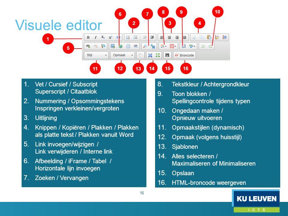 Visuele editor 1. Vet / Cursief / Subscript Superscript / Citaatblok 2. Nummering / Opsommingstekens Inspringen verkleinen/vergroten 3. Uitlijning 4.