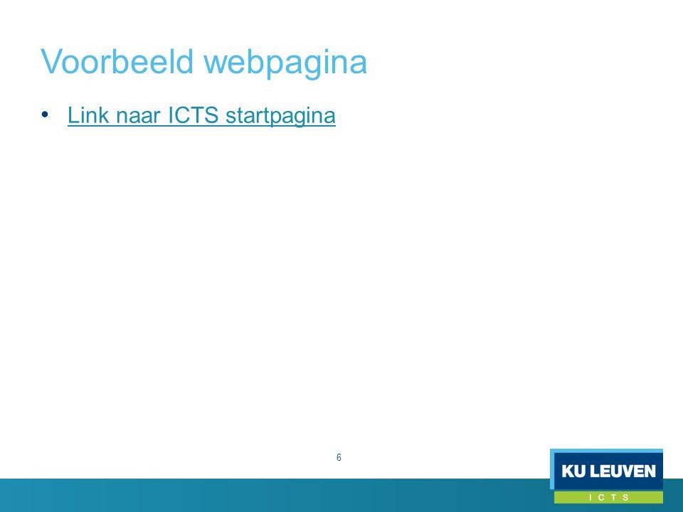 Voorbeeld webpagina 6 Link naar ICTS startpagina