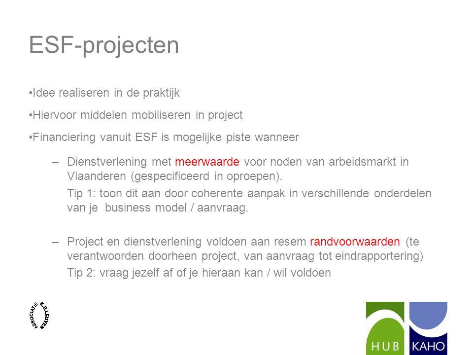 ESF-projecten Idee realiseren in de praktijk Hiervoor middelen mobiliseren in project Financiering vanuit ESF is mogelijke piste wanneer –Dienstverlening met meerwaarde voor noden van arbeidsmarkt in Vlaanderen (gespecificeerd in oproepen).