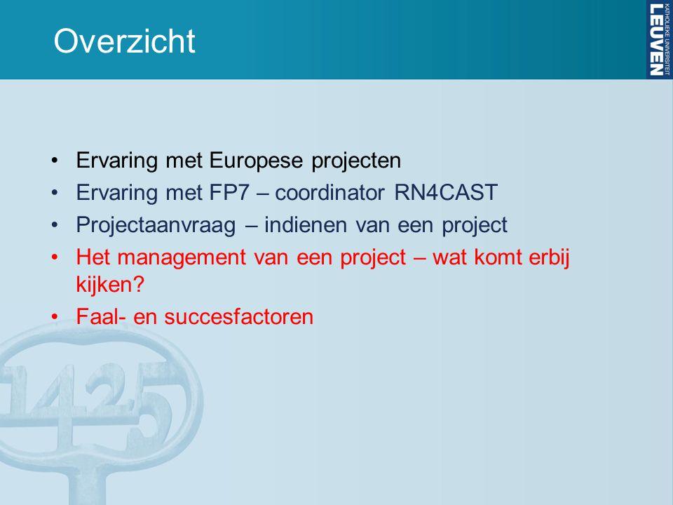 Overzicht Ervaring met Europese projecten Ervaring met FP7 – coordinator RN4CAST Projectaanvraag – indienen van een project Het management van een project – wat komt erbij kijken.