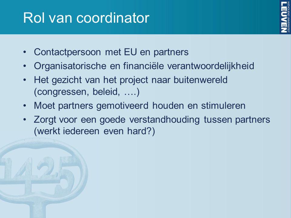 Rol van coordinator Contactpersoon met EU en partners Organisatorische en financiële verantwoordelijkheid Het gezicht van het project naar buitenwereld (congressen, beleid, ….) Moet partners gemotiveerd houden en stimuleren Zorgt voor een goede verstandhouding tussen partners (werkt iedereen even hard )