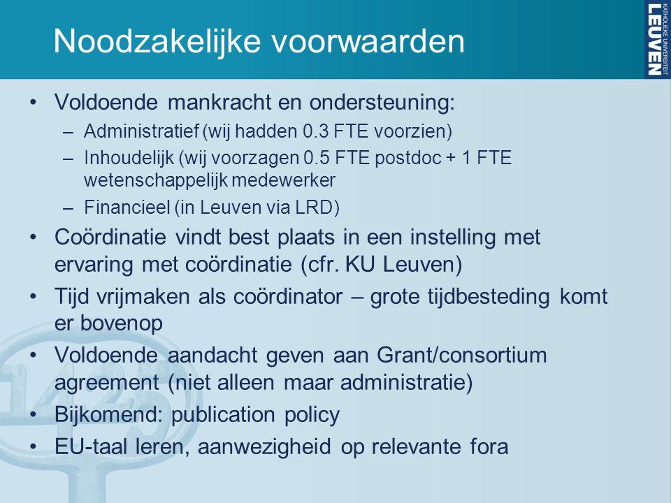 Noodzakelijke voorwaarden Voldoende mankracht en ondersteuning: –Administratief (wij hadden 0.3 FTE voorzien) –Inhoudelijk (wij voorzagen 0.5 FTE postdoc + 1 FTE wetenschappelijk medewerker –Financieel (in Leuven via LRD) Coördinatie vindt best plaats in een instelling met ervaring met coördinatie (cfr.