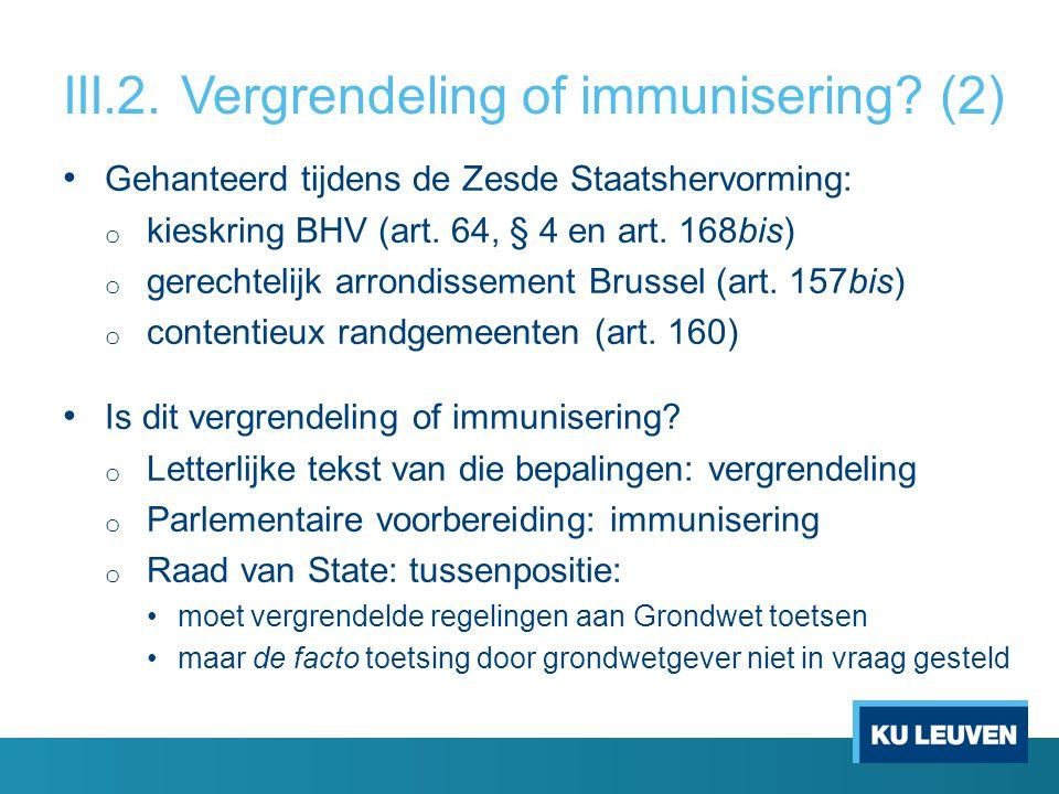 III.2. Vergrendeling of immunisering.