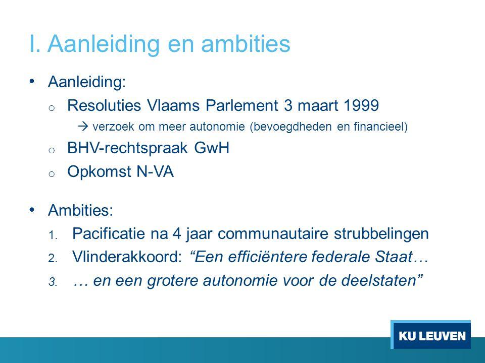 I. Aanleiding en ambities Aanleiding: o Resoluties Vlaams Parlement 3 maart 1999  verzoek om meer autonomie (bevoegdheden en financieel) o BHV-rechts