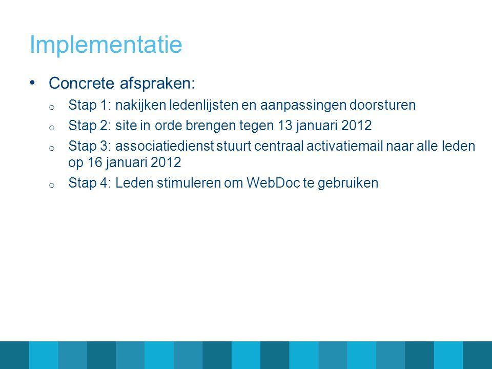 Implementatie Concrete afspraken: o Stap 1: nakijken ledenlijsten en aanpassingen doorsturen o Stap 2: site in orde brengen tegen 13 januari 2012 o St