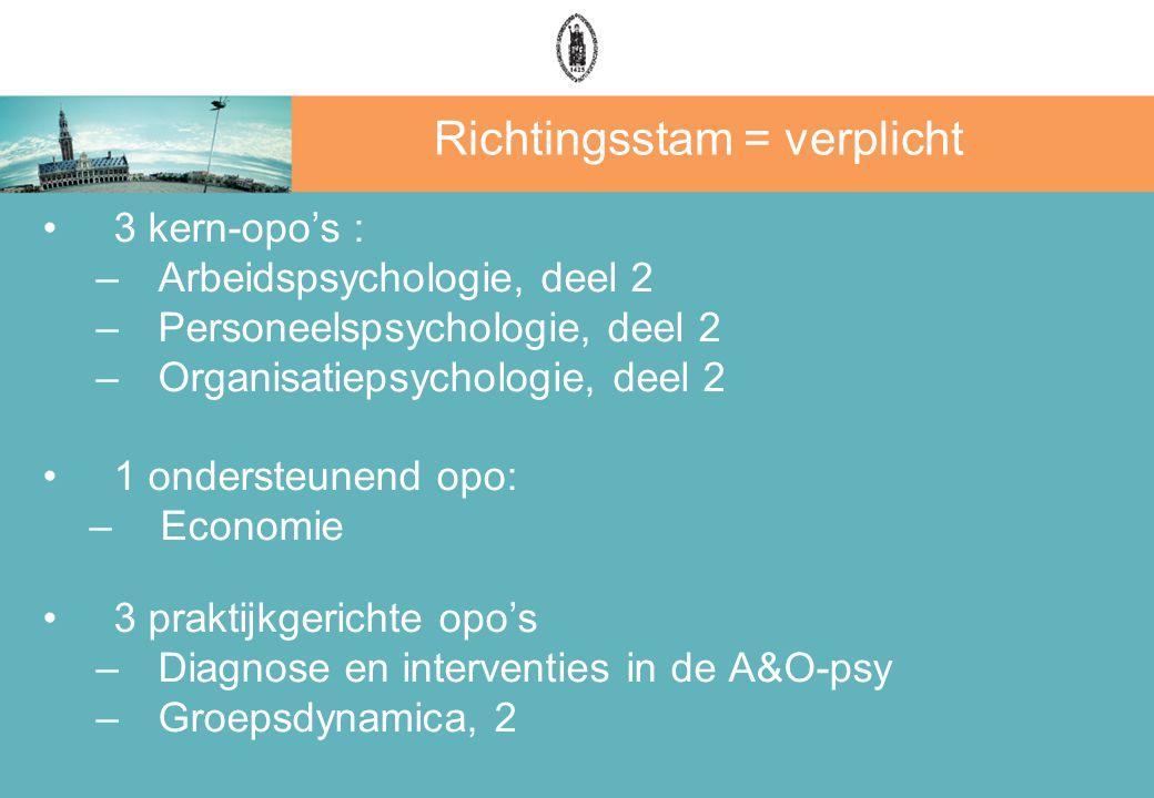 Richtingsstam = verplicht 3 kern-opo's : –Arbeidspsychologie, deel 2 –Personeelspsychologie, deel 2 –Organisatiepsychologie, deel 2 1 ondersteunend op