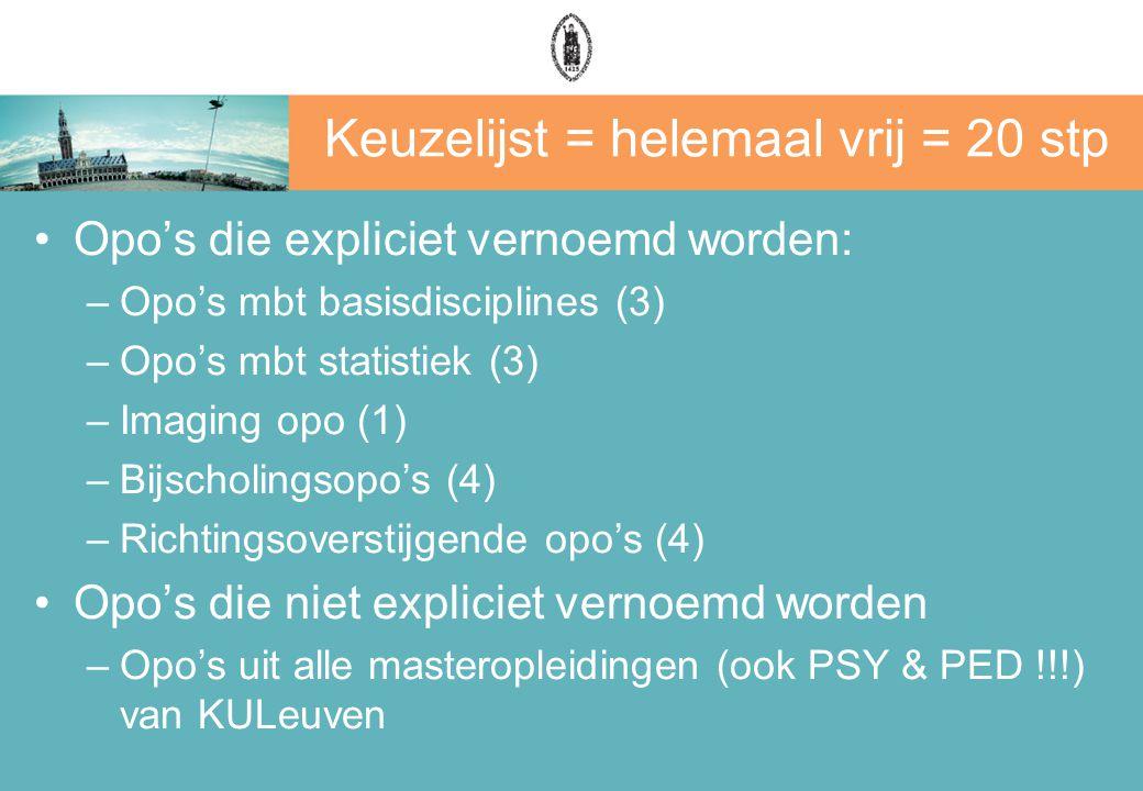 Keuzelijst = helemaal vrij = 20 stp Opo's die expliciet vernoemd worden: –Opo's mbt basisdisciplines (3) –Opo's mbt statistiek (3) –Imaging opo (1) –Bijscholingsopo's (4) –Richtingsoverstijgende opo's (4) Opo's die niet expliciet vernoemd worden –Opo's uit alle masteropleidingen (ook PSY & PED !!!) van KULeuven