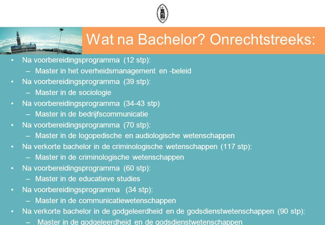 Wat na Bachelor? Onrechtstreeks: Na voorbereidingsprogramma (12 stp): –Master in het overheidsmanagement en -beleid Na voorbereidingsprogramma (39 stp