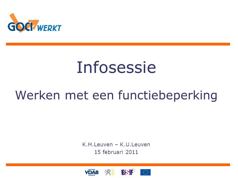 Infosessie Werken met een functiebeperking K.H.Leuven – K.U.Leuven 15 februari 2011