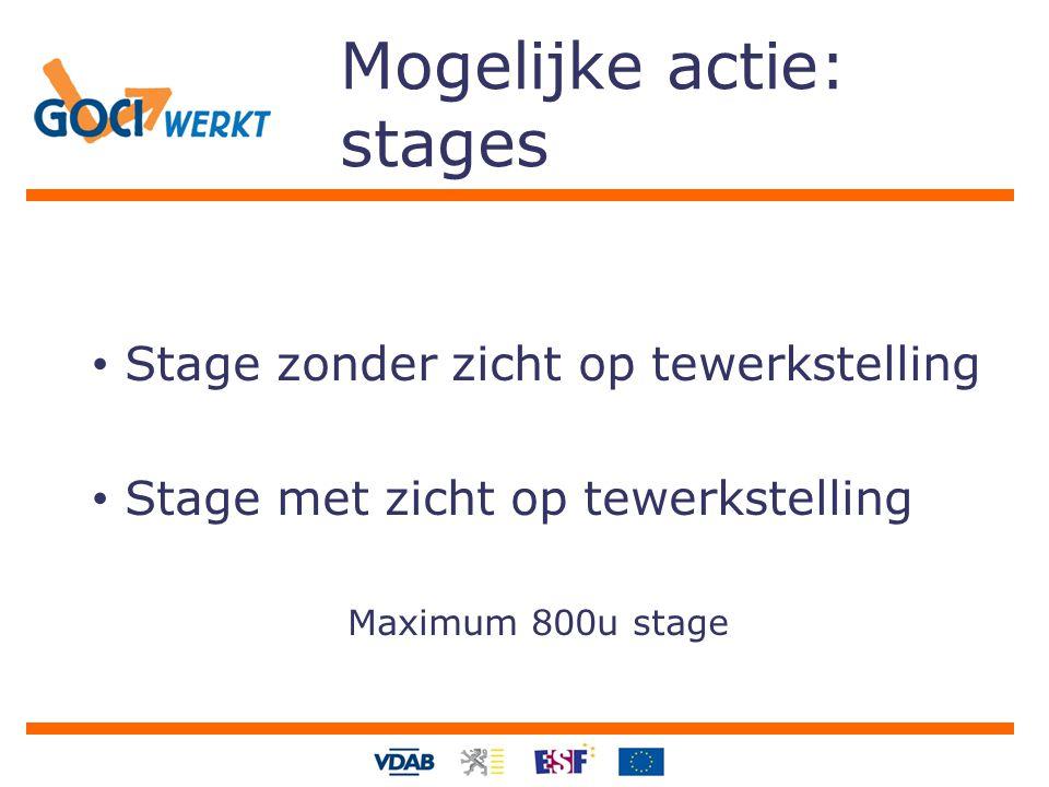 Mogelijke actie: stages Stage zonder zicht op tewerkstelling Stage met zicht op tewerkstelling Maximum 800u stage