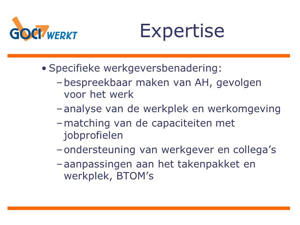 Expertise Specifieke werkgeversbenadering: –bespreekbaar maken van AH, gevolgen voor het werk –analyse van de werkplek en werkomgeving –matching van de capaciteiten met jobprofielen –ondersteuning van werkgever en collega's –aanpassingen aan het takenpakket en werkplek, BTOM's