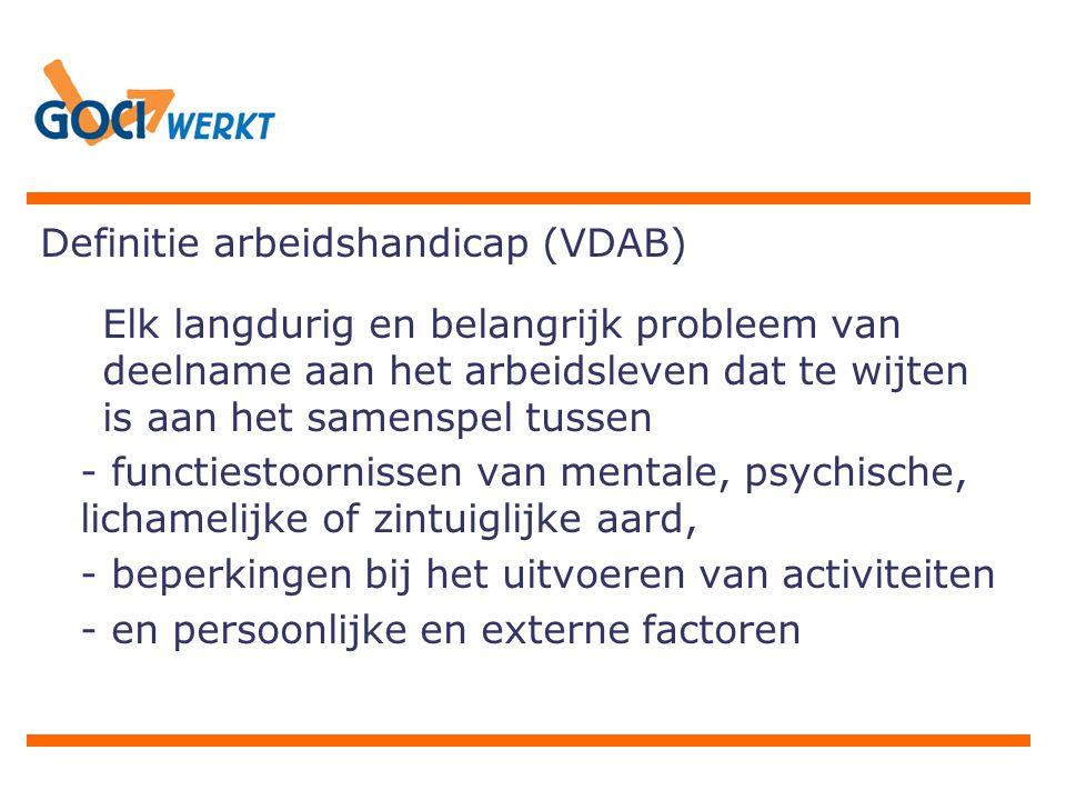 Definitie arbeidshandicap (VDAB) Elk langdurig en belangrijk probleem van deelname aan het arbeidsleven dat te wijten is aan het samenspel tussen - functiestoornissen van mentale, psychische, lichamelijke of zintuiglijke aard, - beperkingen bij het uitvoeren van activiteiten - en persoonlijke en externe factoren