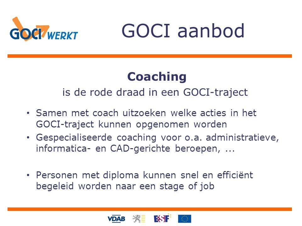GOCI aanbod Coaching is de rode draad in een GOCI-traject Samen met coach uitzoeken welke acties in het GOCI-traject kunnen opgenomen worden Gespecialiseerde coaching voor o.a.
