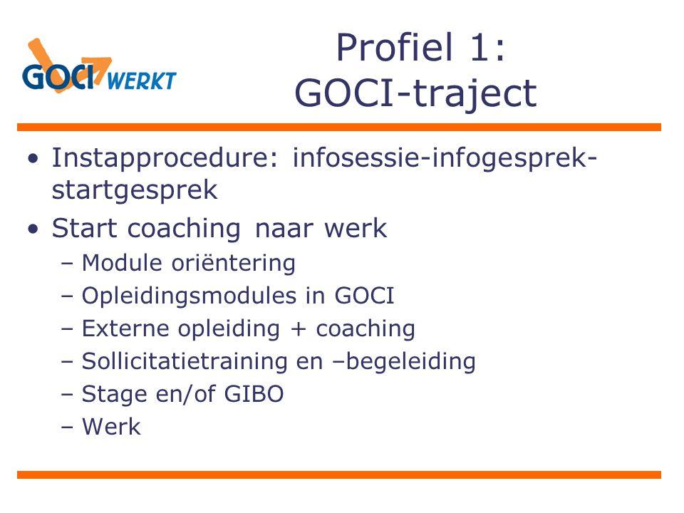 Profiel 1: GOCI-traject Instapprocedure: infosessie-infogesprek- startgesprek Start coaching naar werk –Module oriëntering –Opleidingsmodules in GOCI