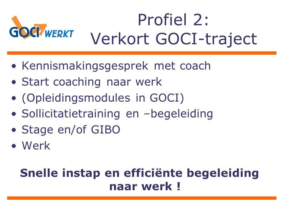 Profiel 2: Verkort GOCI-traject Kennismakingsgesprek met coach Start coaching naar werk (Opleidingsmodules in GOCI) Sollicitatietraining en –begeleidi