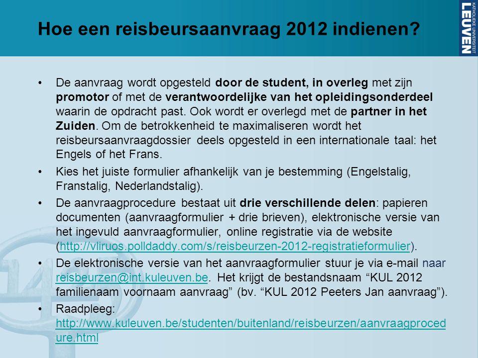 Hoe een reisbeursaanvraag 2012 indienen.
