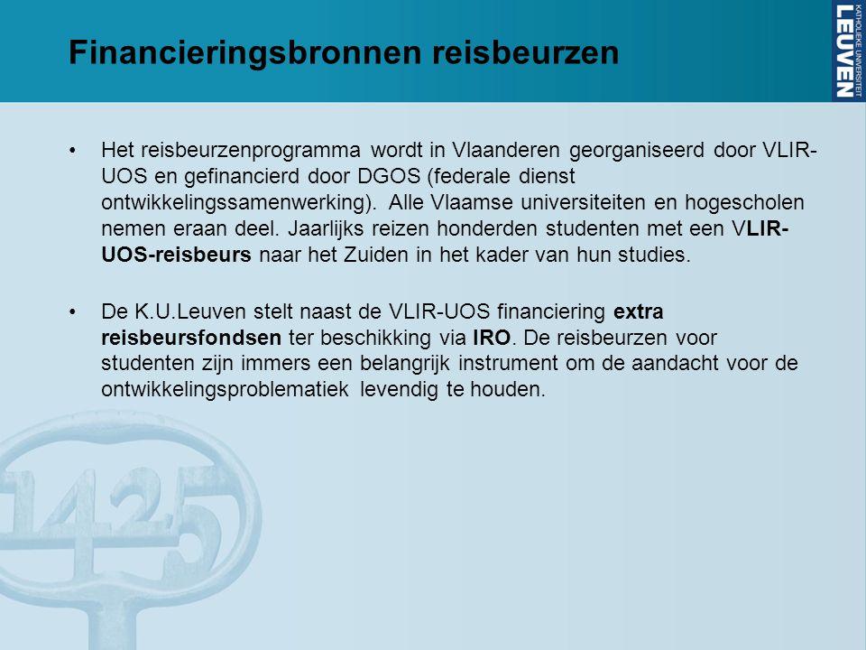 Financieringsbronnen reisbeurzen Het reisbeurzenprogramma wordt in Vlaanderen georganiseerd door VLIR- UOS en gefinancierd door DGOS (federale dienst ontwikkelingssamenwerking).