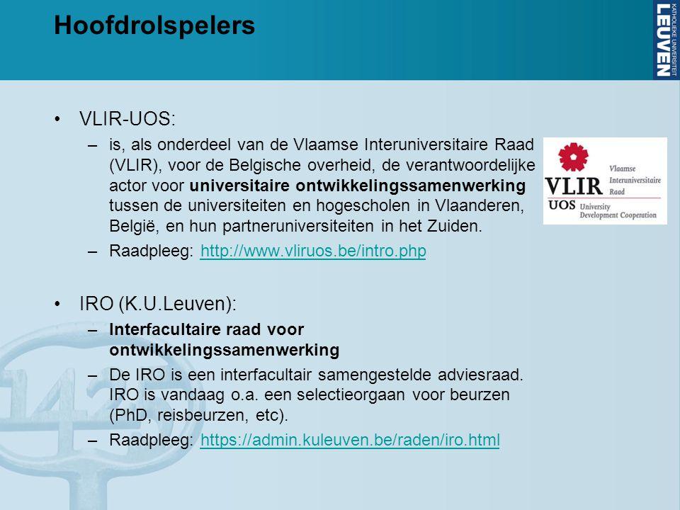 Hoofdrolspelers VLIR-UOS: –is, als onderdeel van de Vlaamse Interuniversitaire Raad (VLIR), voor de Belgische overheid, de verantwoordelijke actor voor universitaire ontwikkelingssamenwerking tussen de universiteiten en hogescholen in Vlaanderen, België, en hun partneruniversiteiten in het Zuiden.