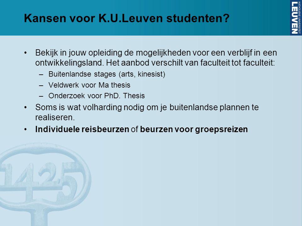Kansen voor K.U.Leuven studenten.