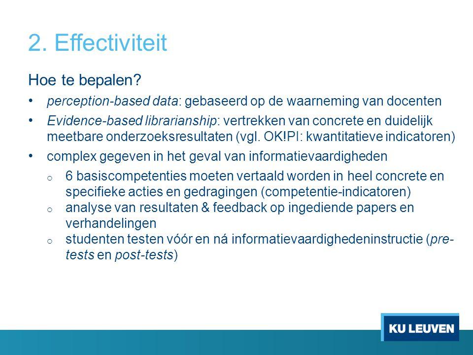 2. Effectiviteit Hoe te bepalen? perception-based data: gebaseerd op de waarneming van docenten Evidence-based librarianship: vertrekken van concrete