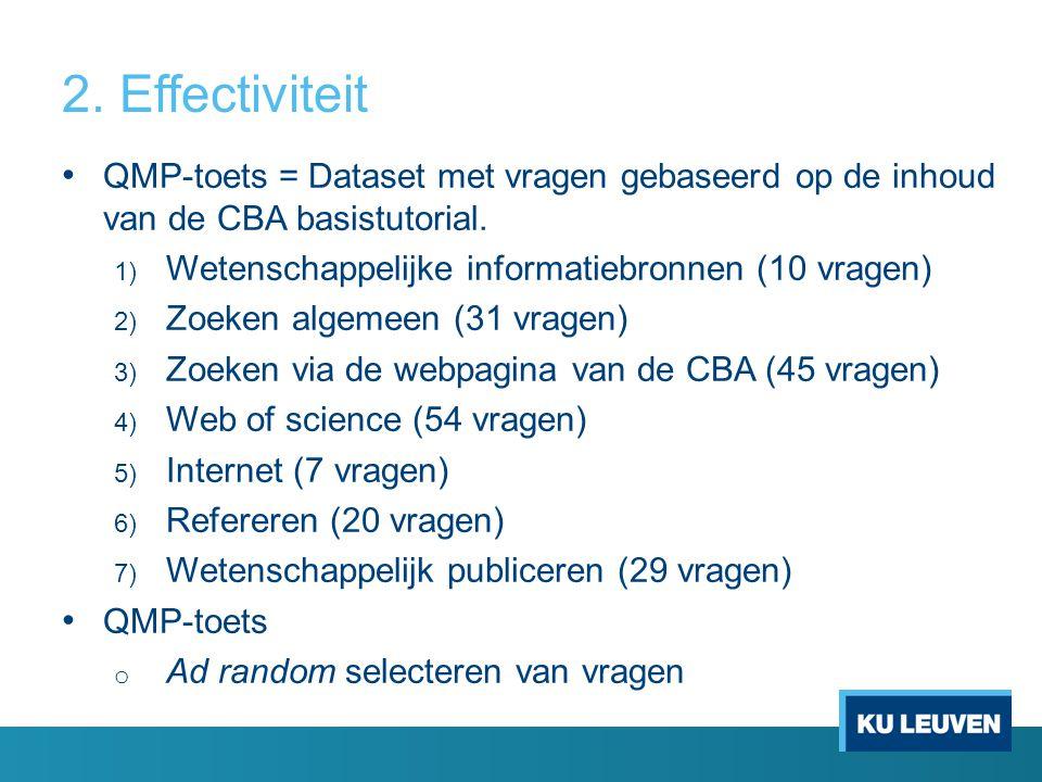 2. Effectiviteit QMP-toets = Dataset met vragen gebaseerd op de inhoud van de CBA basistutorial. 1) Wetenschappelijke informatiebronnen (10 vragen) 2)