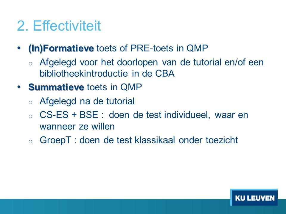 2. Effectiviteit (In)Formatieve (In)Formatieve toets of PRE-toets in QMP o Afgelegd voor het doorlopen van de tutorial en/of een bibliotheekintroducti