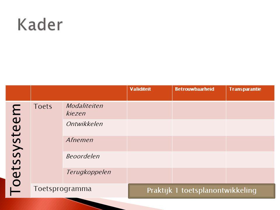 ValiditeitBetrouwbaarheidTransparantie Toetssysteem Toets Modaliteiten kiezen Ontwikkelen Afnemen Beoordelen Terugkoppelen Toetsprogramma Praktijk 1 toetsplanontwikkeling