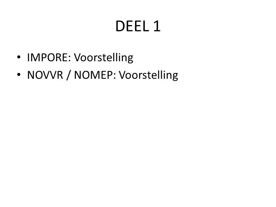 DEEL 1 IMPORE: Voorstelling NOVVR / NOMEP: Voorstelling