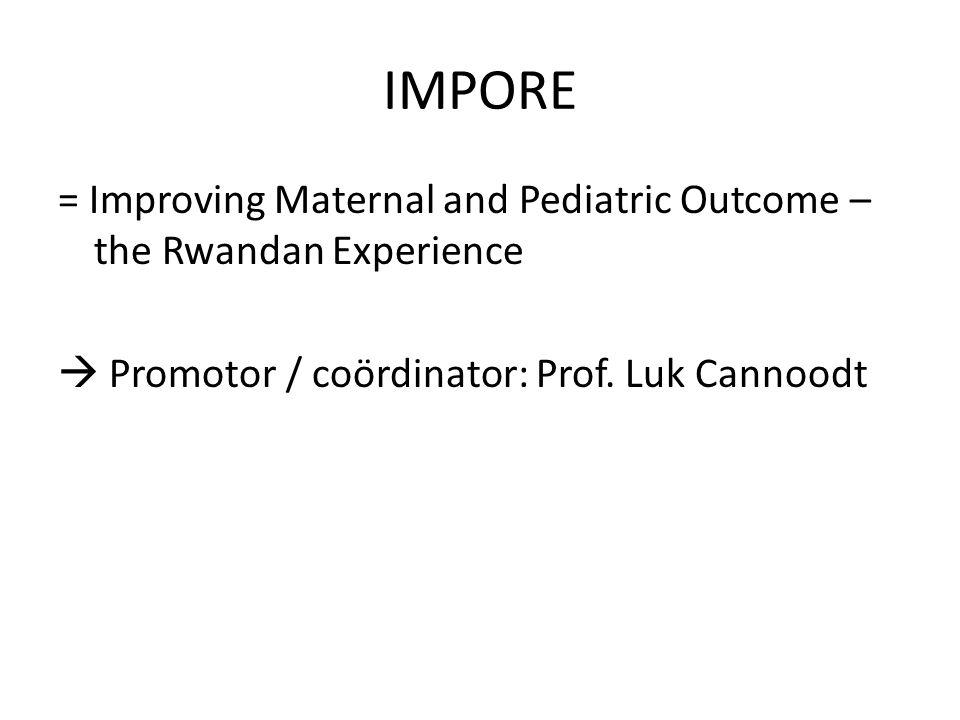  Promotor / coördinator: Prof. Luk Cannoodt IMPORE
