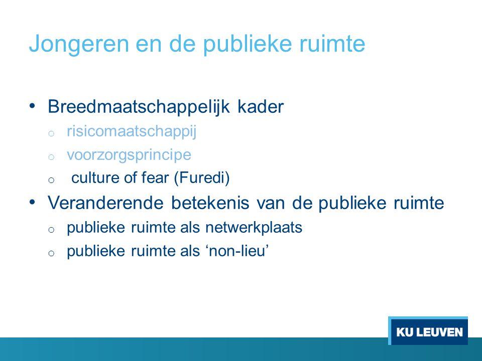 Jongeren en de publieke ruimte Breedmaatschappelijk kader o risicomaatschappij o voorzorgsprincipe o culture of fear (Furedi) Veranderende betekenis van de publieke ruimte o publieke ruimte als netwerkplaats o publieke ruimte als 'non-lieu'