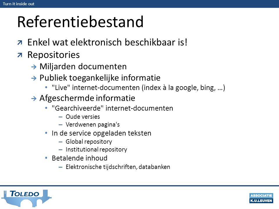Turn it inside out Referentiebestand  Enkel wat elektronisch beschikbaar is!  Repositories  Miljarden documenten  Publiek toegankelijke informatie