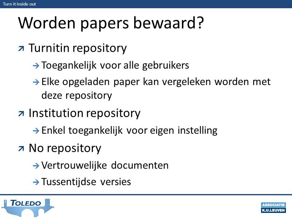 Turn it inside out Worden papers bewaard?  Turnitin repository  Toegankelijk voor alle gebruikers  Elke opgeladen paper kan vergeleken worden met d