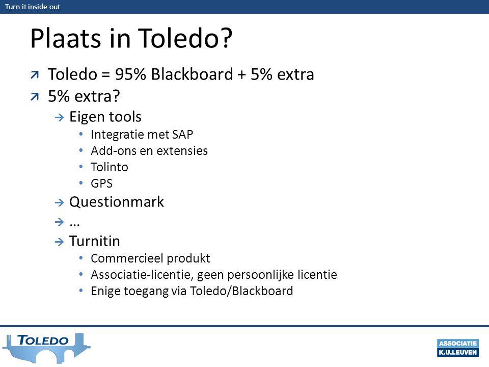 Turn it inside out Plaats in Toledo?  Toledo = 95% Blackboard + 5% extra  5% extra?  Eigen tools Integratie met SAP Add-ons en extensies Tolinto GP
