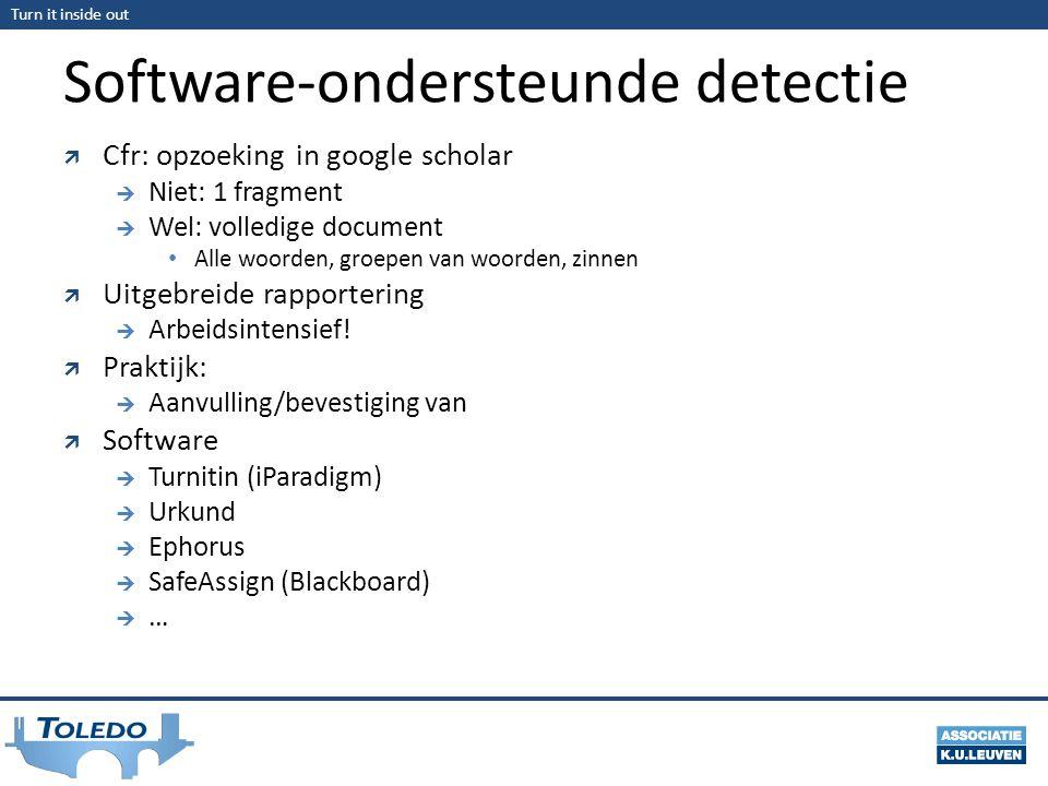 Turn it inside out Software-ondersteunde detectie  Cfr: opzoeking in google scholar  Niet: 1 fragment  Wel: volledige document Alle woorden, groepen van woorden, zinnen  Uitgebreide rapportering  Arbeidsintensief.