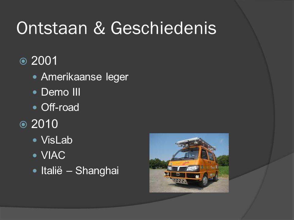 Ontstaan & Geschiedenis  2001 Amerikaanse leger Demo III Off-road  2010 VisLab VIAC Italië – Shanghai