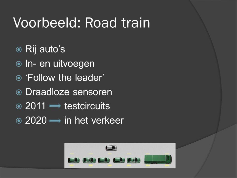 Voorbeeld: Road train  Rij auto's  In- en uitvoegen  'Follow the leader'  Draadloze sensoren  2011 testcircuits  2020 in het verkeer