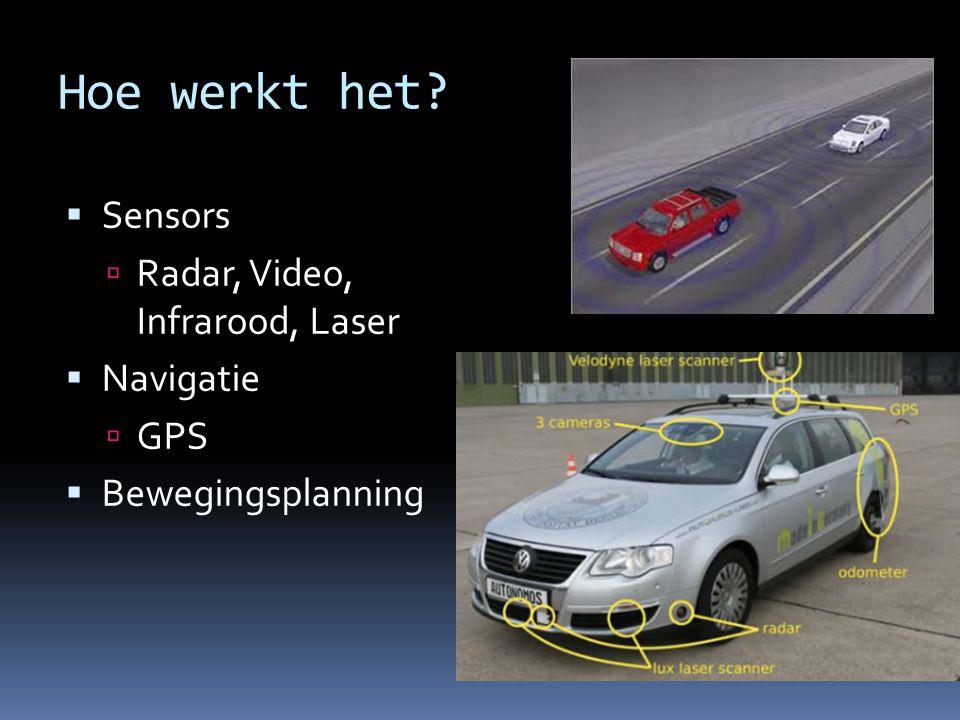 Hoe werkt het?  Sensors  Radar, Video, Infrarood, Laser  Navigatie  GPS  Bewegingsplanning