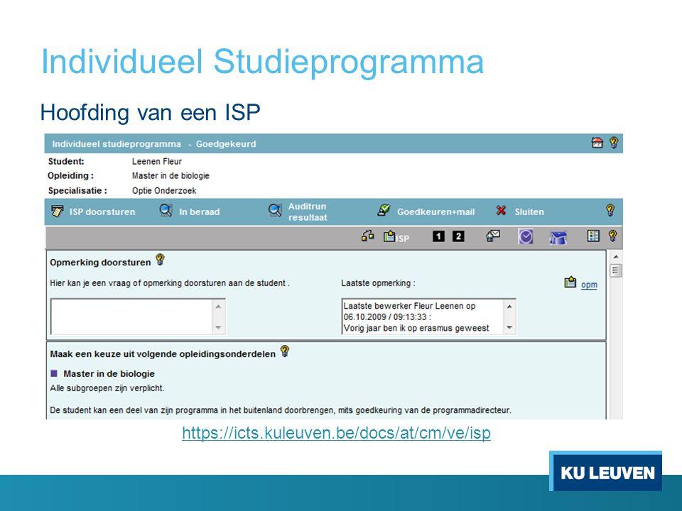 Individueel Studieprogramma https://icts.kuleuven.be/docs/at/cm/ve/isp Hoofding van een ISP