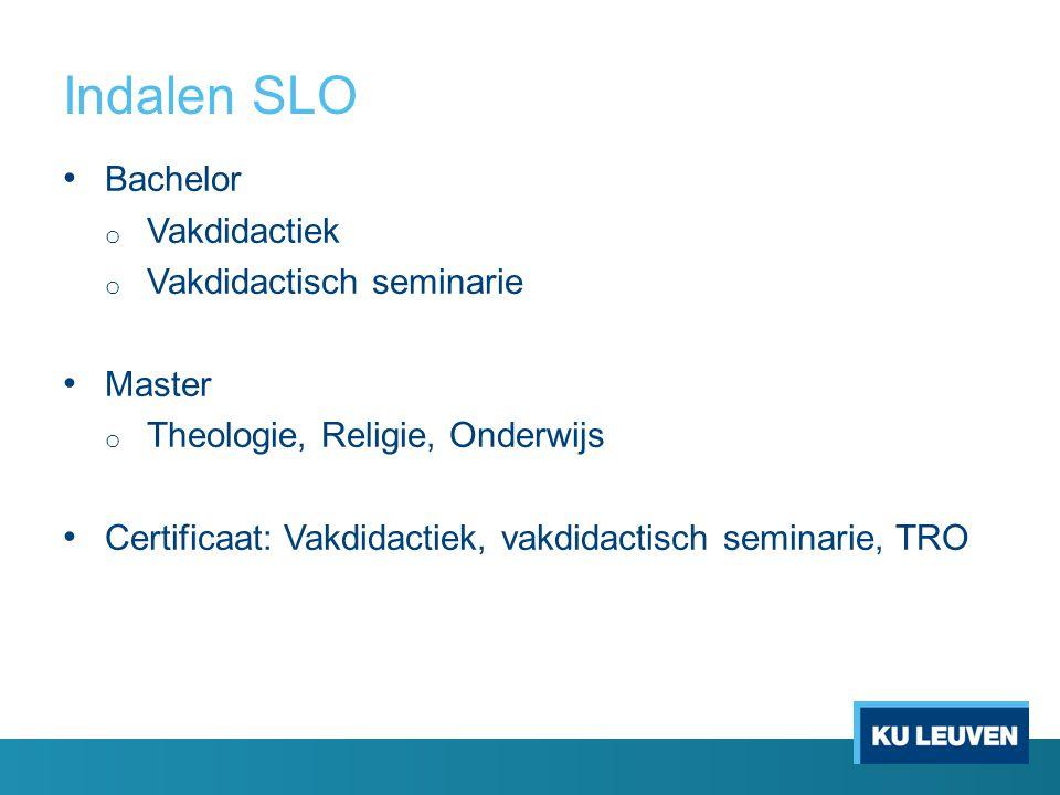 Indalen SLO Bachelor o Vakdidactiek o Vakdidactisch seminarie Master o Theologie, Religie, Onderwijs Certificaat: Vakdidactiek, vakdidactisch seminarie, TRO