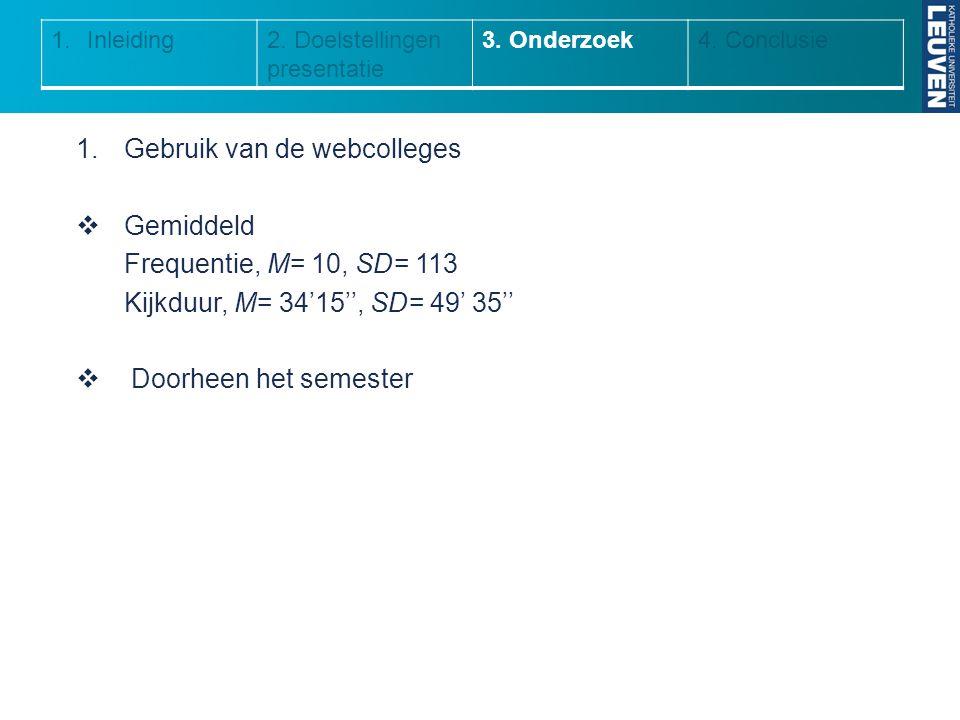 1.Gebruik van de webcolleges  Gemiddeld Frequentie, M= 10, SD= 113 Kijkduur, M= 34'15'', SD= 49' 35''  Doorheen het semester 1.Inleiding2. Doelstell